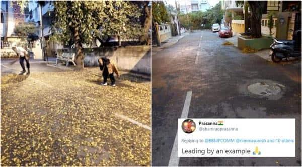 karnataka, covid-19 lockdown, S Suresh Kumar, S Suresh Kumar clean road, karnataka minsiter wife clean road, BBMC, indian express, viral news