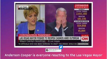 las vegas mayor CNN interview, Carolyn Goodman, Carolyn Goodman anderson cooper interview, coronavirus USA, usa reopening of business, Carolyn Goodman casino reopening interview, viral videos, indian express,