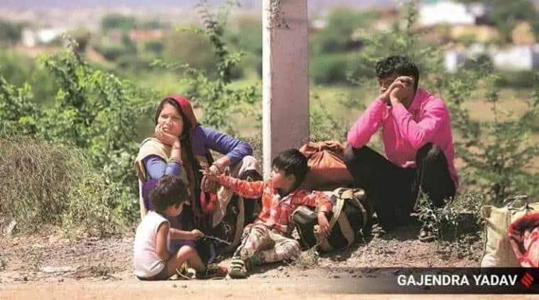 coronavirus, coronavirus in gujarat, india lockdowan, migrant workers, migrant workers stuck in gujarat, migrant workers shelter, indian express news