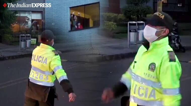 Bogota cops break into a dance to help people overcome Covid-19 'isolation blues'