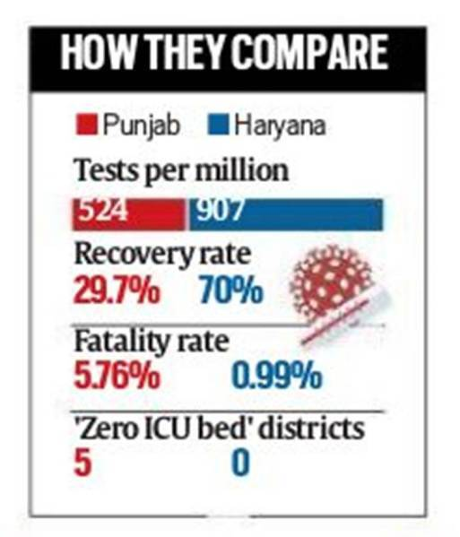 In Covid war, Punjab fares poorly against neighbour Haryana in testing, recovery