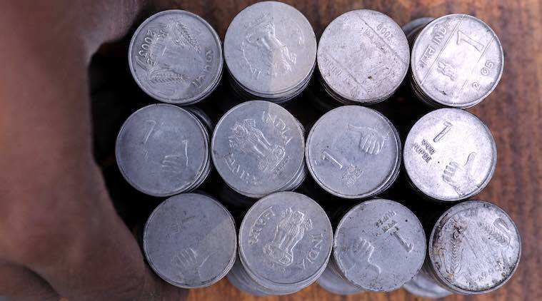 Rupee coins stacked together