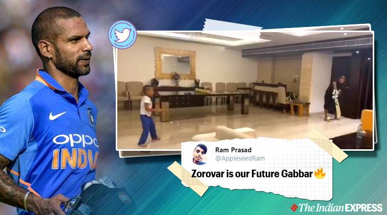 shikhar dhawan, shikar dhawan son play cricket, quarantine ideas with kids, dhawan vs dhawan match, viral videos, cricket news, sports news, indian express