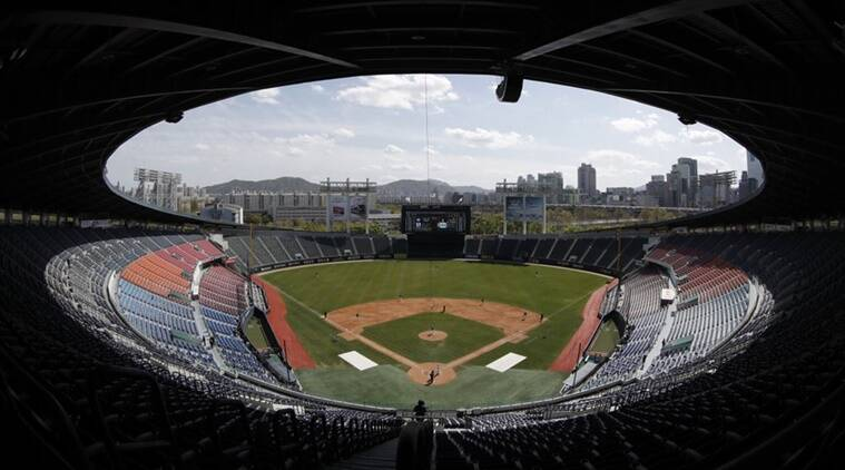 South Korean baseball preseason underway in empty stadiums