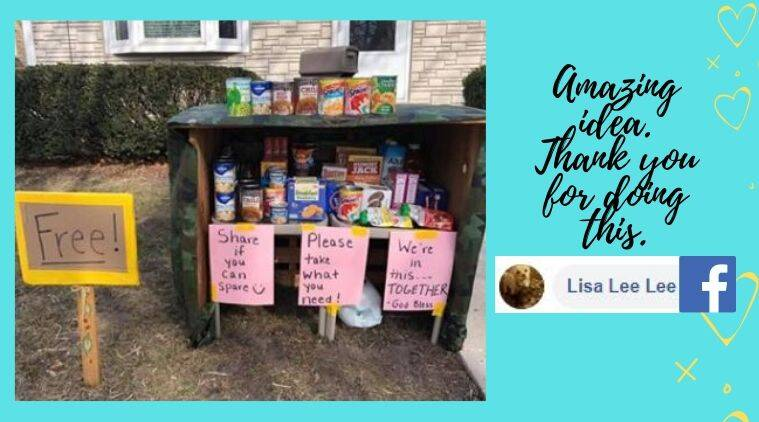Free pantry, US family's free pantry, Wisconsin family free pantry, free essential items pantry during coronavirus crisis, Wisconsin, US, Coronavirus lockdown, Coronavirus, Coronavirus pandemic, COVID-19, Trending news, Indian Express news