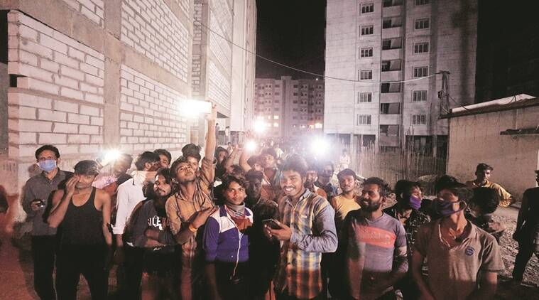 Migrant labourers flash torches, fight empty stomachs at relief camp