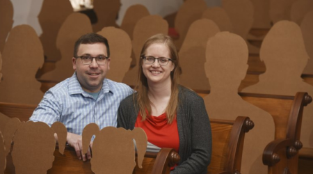 Cardboard cut-outs pose as guests for Michigan couple's wedding amid COVID-19