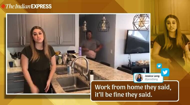 Watch: Shirtless father walks in just as reporter records video at home