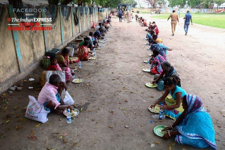 west bengal police, barasat police helping homeless, covid 19, coronavirus lockdown india, kolkata police helping homeless, indian express, stories of strength series, indian express covid series