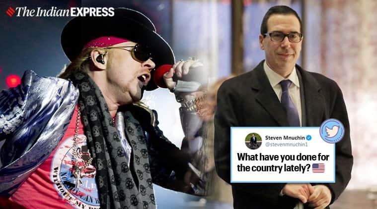 GNR's Axl Rose, US treasury Steven Mnuchin Twitter feud, guns n roses, US, covid-19, coronavirus, lockdowm, US covid-19 cases, Donald Trump