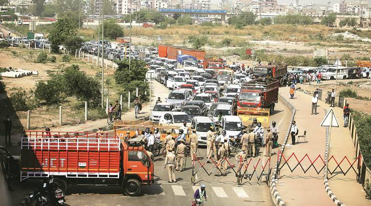delhi ncr border, delhi noida gurgaon border, noida border closed, gurgaon border closed, india lockdown, delhi lockdown, latest news, indian express