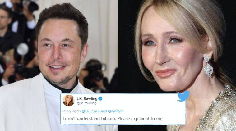 Elon Musk, JK Rowling, Elon Musk explains bitcoins to jk rowling, Bitcoins, Cryptocurrency, Elon musk on Bitcoins, Trending news, Indian Express news