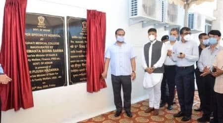 Guwahati super-specialty hospital, Guwahati covid hospital, Assam news, Assam covid cases, Himanta Biswa sarma, Indian express