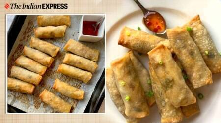 spring roll, veg spring roll, indianexpress, indianexpress.com, how to make healthy spring rolls, ramadan, desi food, chinese food, healthy junk, baked, quarantine cooking,