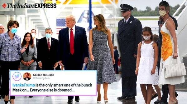 donald trump, ivanka trump, ivanka trump mask spacex launch, spacex launch trump family without mask, trump mask political correct comment, viral news, indian express