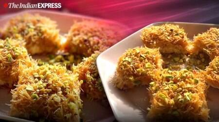 kunafa, easy kunafa recipe, eid recipes, indianexpress.com, amrita raichand recipes, indianexpress, easy sweet recipe, recipe of the day,