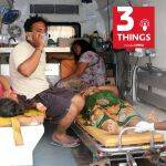 People affected by the Visakhapatnam gas leak in an ambulance.