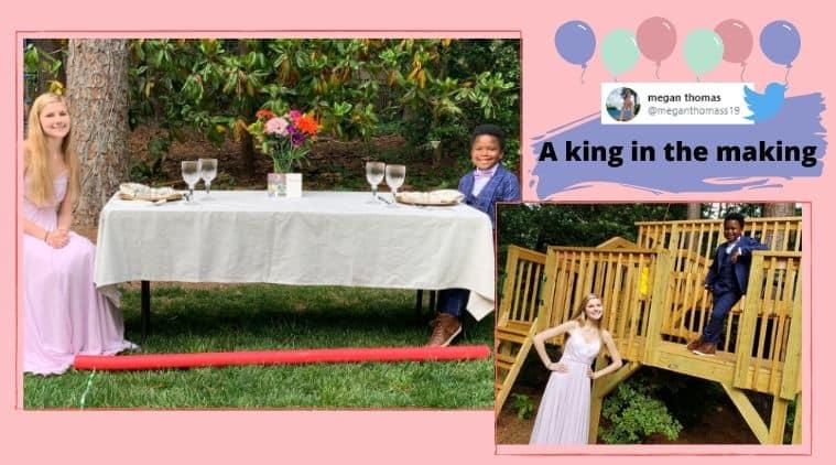 7-year old, prom, senior prom, nanny, 7-year-old prom date, North Carolina, COVID-19, Coronavirus, Trending news, Indian Express news