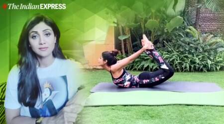 stretching the back, back muscles, indianexpress.com, indianexpress, shilpa shetty fitness, fitness goals, shilpa shetty fitness app, shilpa shetty back muscles, back and shoulder muscles, stiff back, shilpa shetty back exercises, downward dog pose, back strain, why is stretching good, back strengthening exercises,