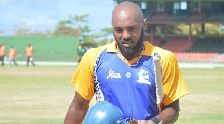 Hand sanitizer on boundary ropes in Vincy Premier T10 League