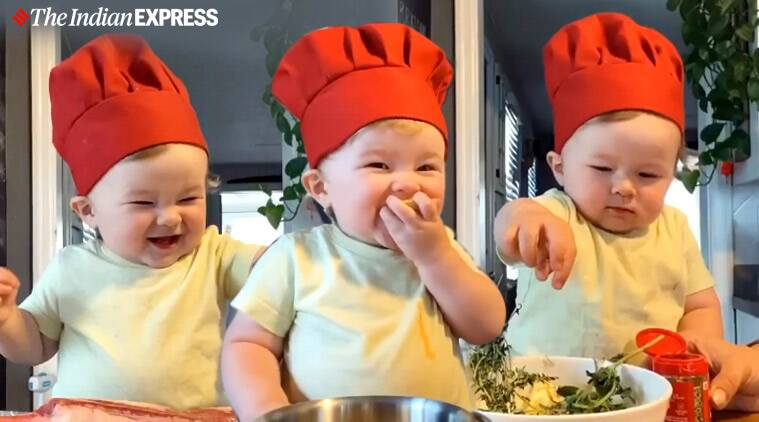 Baby chef, Toddler chef, Toddler cooking videos, Toddler videos, Kobe cooking videos, Toddler cooking videos, Instagram cooking videos, Cooking tutorials, Trending news, Indian Express news.