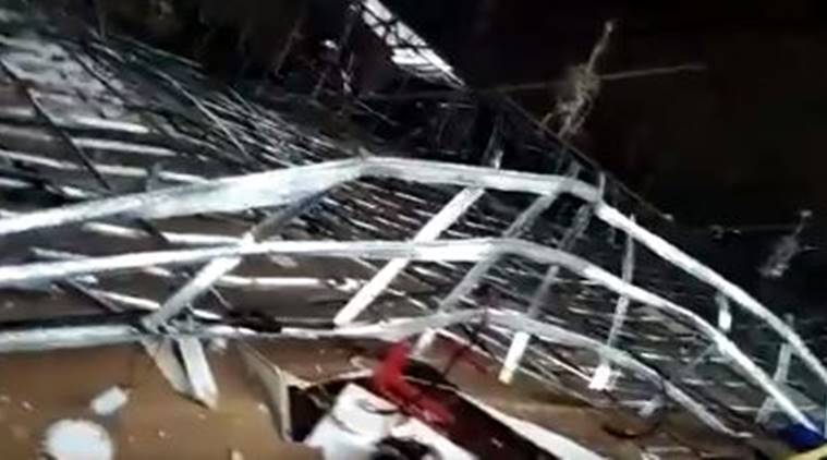 bangalore migrant shelter roof crashed, migrant workers camp bangalore, bengaluru shelter for migrant workers