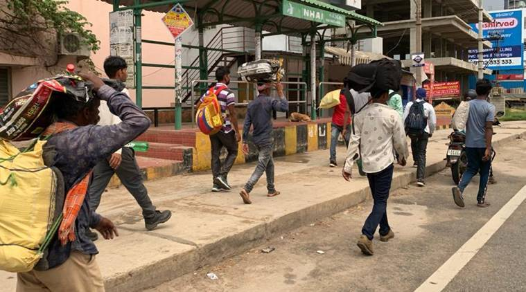 Bengaluru: After state cancels trains, migrants begin walking to UP, Jharkhand