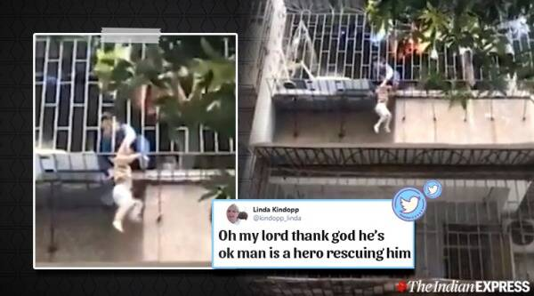 child accident, child slips from balcony, child falls from balcony, child dangles from balcony, onlookers save dangling child, china videos, viral videos