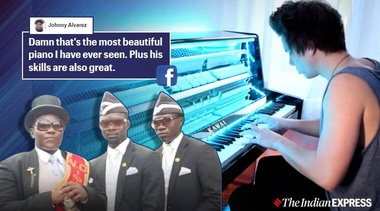 dancing coffin guy, coffin guy meme, ghana pallbearers, dancing coffin meme song, coffin dance piano cover , peter buka coffin meme cover, viral video, indian express