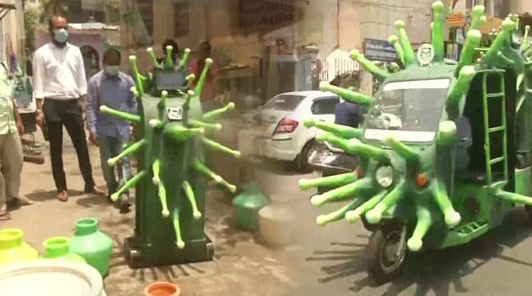 covid-19, coronavirus, Chennai, B Gowtham, Coronavirus shaped robots, twitter reactions