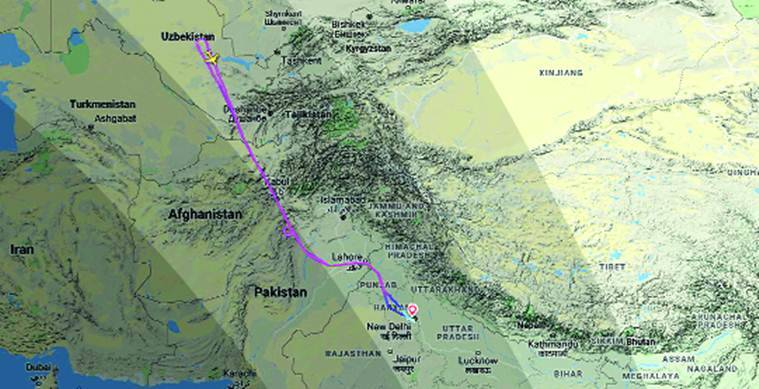 The return path of the Air India plane headed for Moscow for repatriation mission