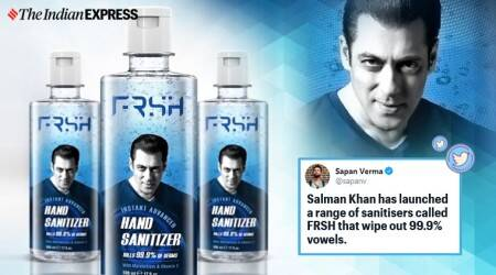 Salman Khan, Salman Khan Eid launch, FRSH grooming, Salman khan hand sanitiser, Salman khan Bhai bahi song, Salman khan frsh memes, Salman khan jokes, viral news, entertainment news, Indian express