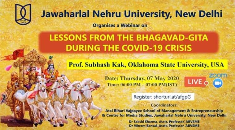 jnu, geeta, ramayana, Bhagavad Gita lessons, covid19, ram on coronavirus, latest coronavirus update, covid19 update, jawharlal nehru university, jnu news, jnu.ac.in,