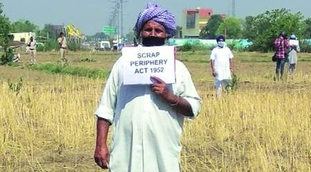 Owners of land acquired for link road to New Chandigarh hold protest against administration