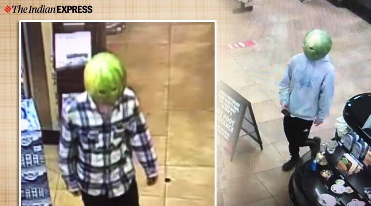 man wears watermelon theft viral video, shoplifters Wore Watermelons On Heads, Louisa Police Department- Virginia