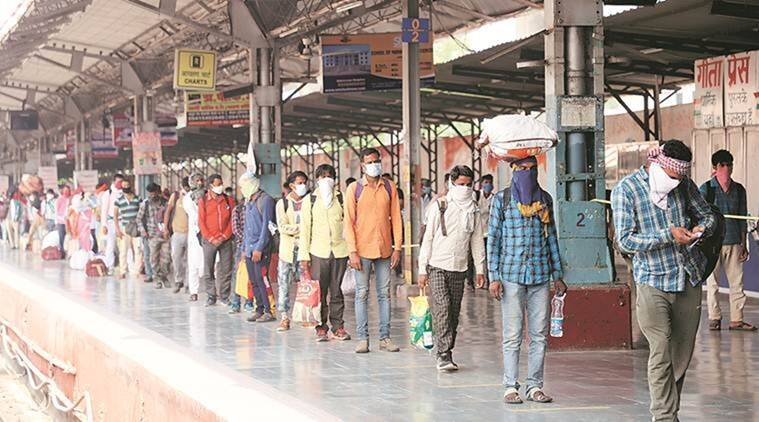 coronavirus, coronavirus outbreak, migrant workers, migrant workers in ahmedabad, migrant workers stuck in ahmedabad, Ahmedabad-Gandhinagar metrorail, indian express news