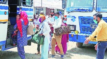 Migrants stranded in Bapu Dham buffer zone being sent back to native states
