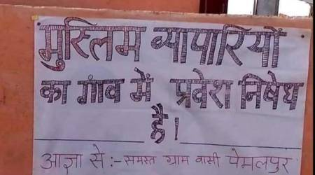 mp village poster muslim traders, muslims not allowed in indore village, muslim traders not allowed in pemalpur village, digvijaya singh, shivraj singh chouhan