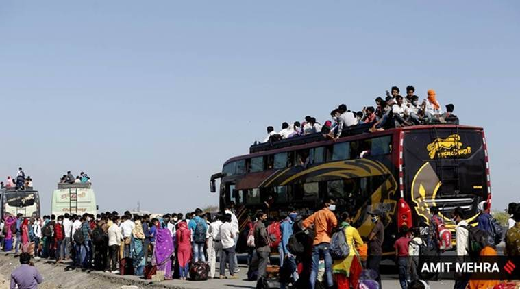 migrants rajasthan, labourers rajasthan, private bus fare rajasthan, migrants coronavirus, coronavirus rajashthan, migrant exodus india, india coronavirus, coronavirus news, indian express news