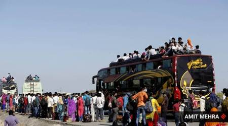 migrants rajasthan, labourers rajasthan, private bus fare rajasthan, migrants coronavirus, coronavirus rajashthan, migrant exodus india, india coronavirus, coronavirus news, indian express news