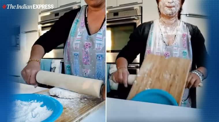 woman bakes bread fail, baking fail videos, new way to bake bread video, viral videos, cooking fail videos, funny cooking videos, indian express