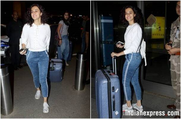 Taapsee Pannu, Taapsee Pannu airport looks, Taapsee Pannu fashion, Taapsee Pannu style, Taapsee Pannu pictures, indian express