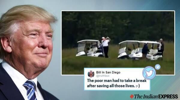 US President Donald Trump, Golfing, US coronavirus update, coronavirus, COVID-19, Trending news, Indian Express news