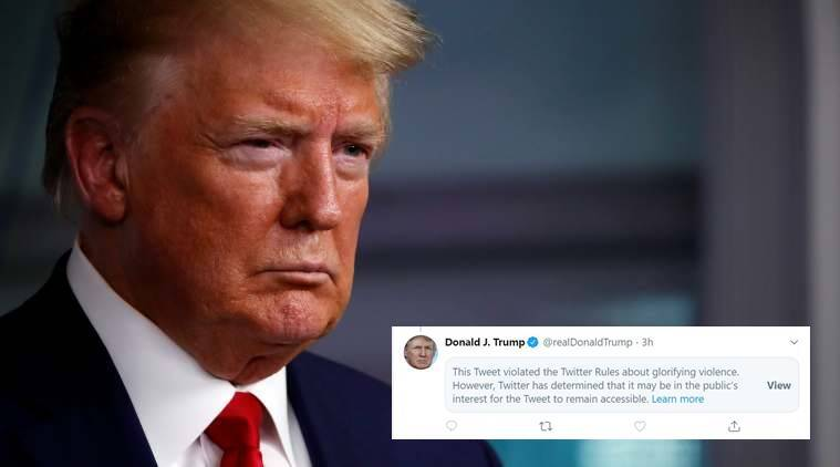 After fact-check, Twitter flags Donald Trump's tweet for 'glorifying violence'