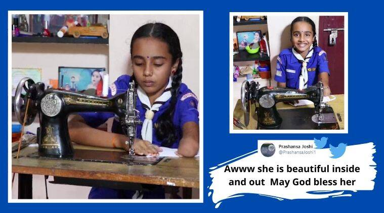 Differently-abled girl, Homemade mask, Udupi, mask, Karnataka, COVID-19 Karnataka updates, Trending news, Indian Express news.