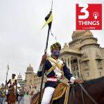 Mounted police participate in an event in Bengaluru.