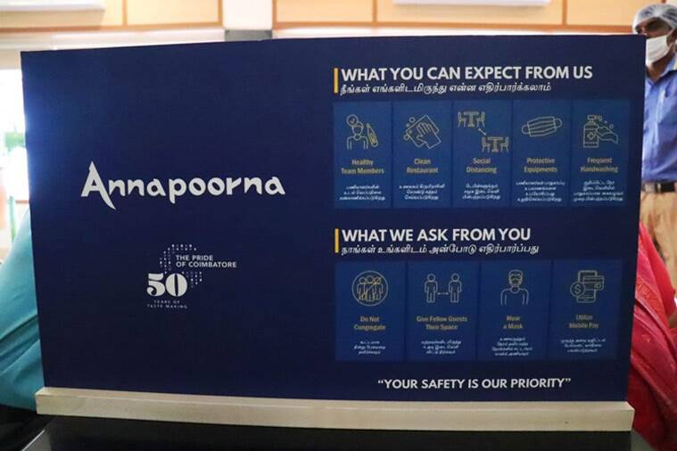 Annapoorna restaurant, Coimbatore, coronavirus, covid 19, sanitisation, indian express lifestyle