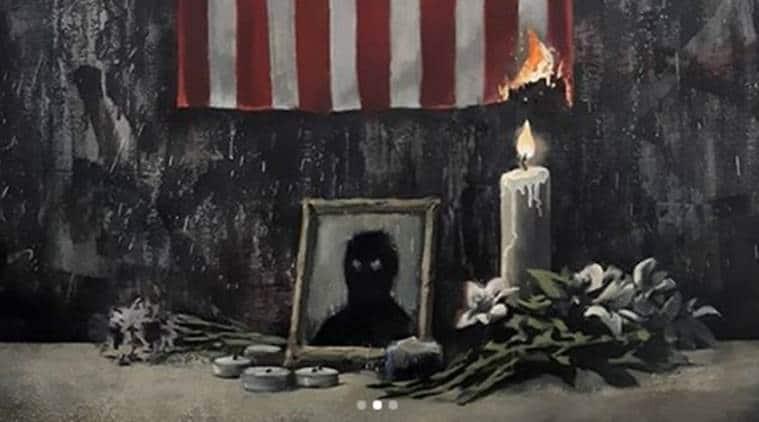 Banksy painting, Banksy artwork, Banksy artwork protesting racism, racism, George Floyd death, anti-racism protests, indian express, indian express news