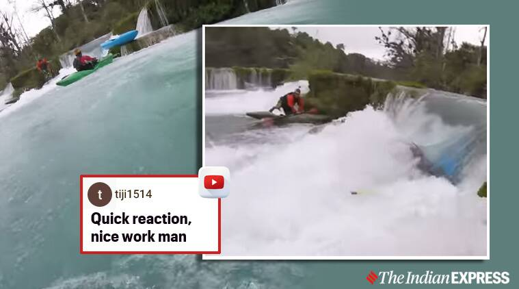 kayaker waterfall boat stuck saved mexico trending viral video, San Luis Potosi, mexico,