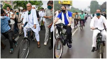 Fuel price hike, Opposition protest against fuel price hike, Tejashwi Yadav bicycle ride, Digvijay Singh bicycle protests,